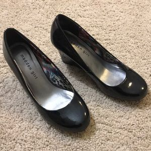 Madden Girl Black Patent Leather Wedges